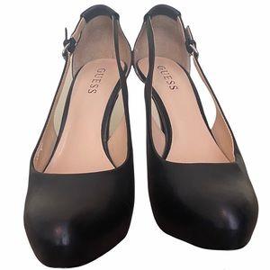 GUESS chrome heel black pumps